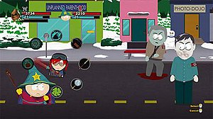 "South Park: The Stick of Truth - ""The New Kid"" (top left) and his ally Cartman (bottom left) battle Nazi Zombies (right). A radial menu system offers an array of strategic choices, such as basic attacks, special abilities, support items, and the ability to summon powerful allies."