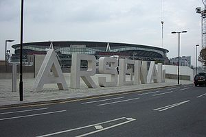 Holloway, London - Arsenal's statue lettering at the Emirates Stadium.