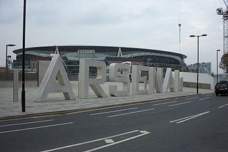 Holloway, London - Arsenal's statue lettering at the Emirates Stadium