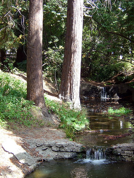 The south fork of Strawberry Creek, as seen between Dwinelle Hall and Lower Sproul Plaza Strawberry Creek near Dwinelle Hall.jpg