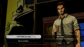 The Wolf Among Us - In-game conversations are presented in the form of dialogue trees