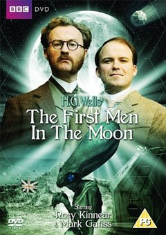 The film's stars, dressed in 1800s garb, and an alien Selenite figure, full moon in background, film title in foreground.