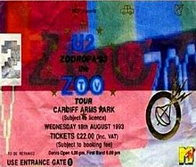 "A multi-coloured rectangular concert ticket, displayed horizontally. Small icons are scattered in the background. It bears the logo of a satellite and features details of the concert, along with the text ""U2 Zooropa '93 Zoo TV Tour""."