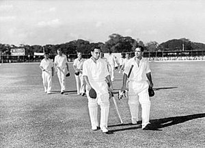 Vinoo Mankad - Mankad (right) and Pankaj Roy returning to the pavilion after their record partnership of 413, Madras, 1956