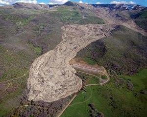 2014 West Salt Creek landslide - Aerial view of the landslide, looking south towards Grand Mesa