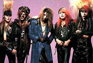X Japan - X circa 1990: Toshi, Taiji, Yoshiki, Pata, hide