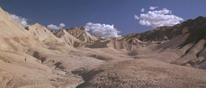 Zabriskie Point (film) - Decades after its widely panned 1970 release, Zabriskie Point garnered critical praise for its cinematography. Halprin and Frechette can barely be seen in the left of this scene filmed at Zabriskie Point.