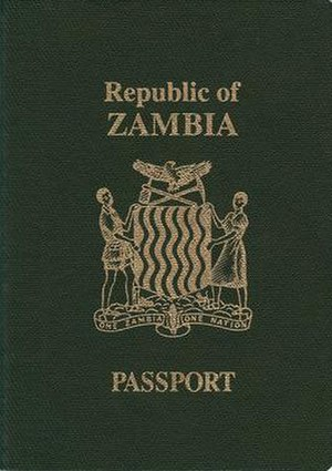 Zambian passport - The front cover of a contemporary Zambian passport.