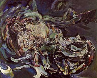 Oskar Kokoschka - The Bride of the Wind or The Tempest, oil on canvas, a self-portrait expressing his unrequited love for Alma Mahler, widow of composer Gustav Mahler, 1914