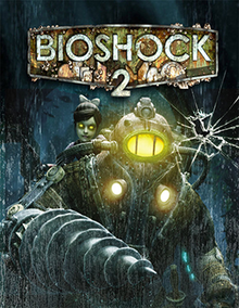 A large, metal-armored character with a drill for a hand and glowing yellow viewport in the helmet faces forward. On his back is a little girl with glowing yellow eyes. At the top of the image is the title BIOSHOCK 2, with the letters corroded and barnacles growing off them.