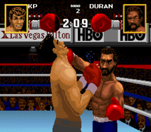 Boxing Legends of the Ring - A scene of one of the boxing matches against Roberto Durán.