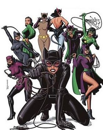 Catwoman - Cover of Catwoman: Nine Lives of a Feline Fatale (2003), showing Catwoman's various costumes throughout the years. Art by Brian Bolland.
