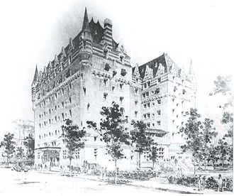 Hotel Saskatchewan - Artistic rendering of the planned and partially constructed Chateau Qu'Appelle