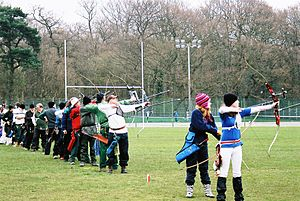 Modern competitive archery - Archers shooting clout.