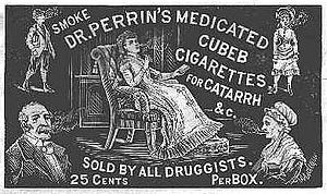 Piper cubeba - A Victorian advertisement for Dr. Perrin's Medicated Cubeb Cigarettes