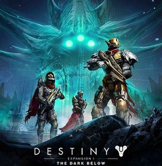 Destiny post-release content - Cover art featuring the game's three character classes: Hunter (left), Warlock (center), and Titan (right). Crota is in the background.