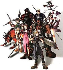 Nine people stand in a group against a white background; the group —made up of seven humans and two animal-like beings— wear a variety of clothing and the human characters carry different weapons.