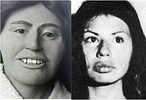 Forensic facial reconstruction - Reconstruction and actual photograph of Green River victim Gail Mathews. The victim had distinctive lips, which could not be represented in the reconstruction, as her body was decomposed.