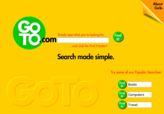 Yahoo! Search Marketing - GoTo main page in 1998