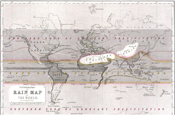 "This ""Hyetographic or Rain Map of the World "" was first published 1848 by Alexander Keith Johnston. Hyetographic or Rain Map of the World 1848 Alexander Keith Johnston.png"