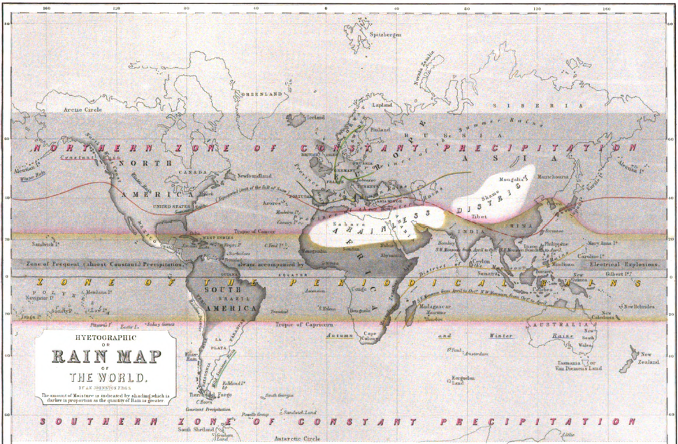 Hyetographic or Rain Map of the World 1848 Alexander Keith Johnston