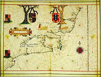 Portuguese colonization of the Americas - Portuguese North America (in present-day Canada); Vaz Dourado, c.1576.