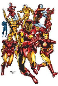 Variations of Iron Man's armors. Art by Bob Layton.