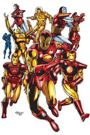 Iron Man's armor - Variations of Iron Man's armors. Art by Bob Layton.
