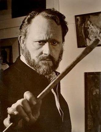 Irv Docktor - Irv Docktor in his studio in the 1960s, brandishing a paintbrush
