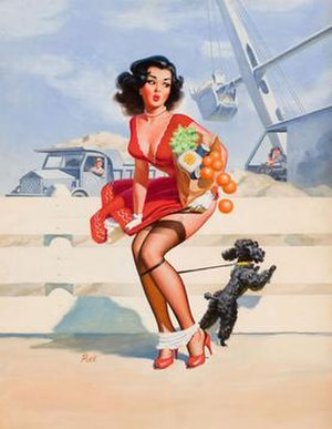 """Dog Tied"", a pinup by Scott (signed..."