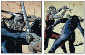 Lazarus (comics) - Forever battles Sonia Bittner during the conclave in issue 15. Art by Michael Lark and Santi Arcas