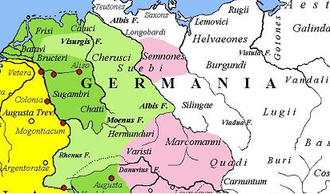 Magna Germania in AD 9. The yellow legend represents the areas controlled by the Roman Republic in 31 BC, the shades of green represent gradually conquered territories under the reign of Augustus, and pink areas on the map represent tributary tribes. Magna Germania before the battle of the Teutoburg Forest.png