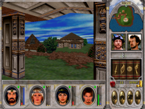 Might and Magic VI: The Mandate of Heaven - A screenshot of gameplay depicting overland exploration.