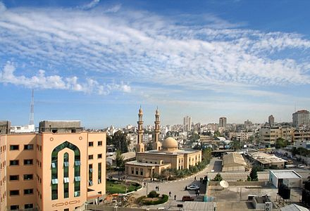 A mosque on the campus of the Islamic University of Gaza Mosque conf hall iug.jpg