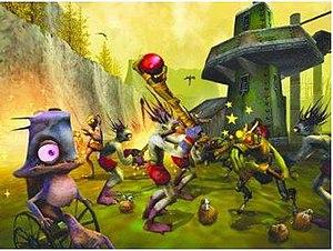 Oddworld: Munch's Oddysee - Abe and Munch fighting alongside their fellow Mudokon friends.