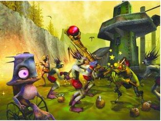 Oddworld: Munch's Oddysee - Abe and Munch fighting alongside their fellow Mudokon friends.