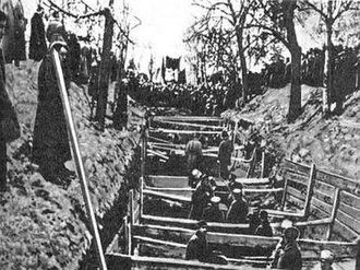 Kremlin Wall Necropolis - November 10, 1917. Mass grave on Red Square