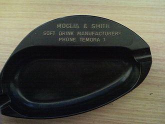 Telecommunications in Australia - An old bakelite ash tray showing an example of a single digit phone number used in the early days of telecommunication.