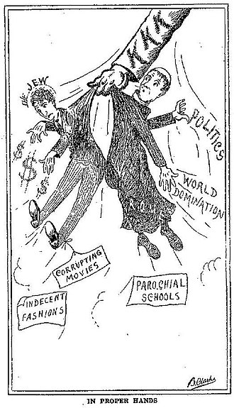 Criticism of Christianity - Protestant Christian dominated KKK hinting at violence toward Jews and Catholics. Illustration by Rev. Branford Clarke from Heroes of the Fiery Cross 1928 by Bishop Alma White published by the Pillar of Fire Church in Zarephath, NJ.