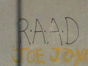 Republican Action Against Drugs - RAAD graffiti in the Bogside area of Derry