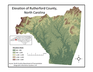 Rutherford County, North Carolina - Rutherford County Elevation