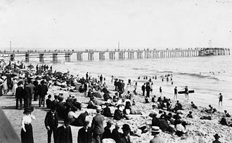 Santa Monica, California - A busy day on the beach, 1880