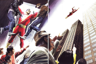 Superpower (ability) - Comic book superhero Captain Marvel uses his superpowers to apprehend criminals (left) and fly over pedestrians (right) in Shazam: Power of Hope (November 2000). Art by Alex Ross.