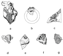 Black and white line drawings of the seven fragments that do not correspond to any known design on the helmet.