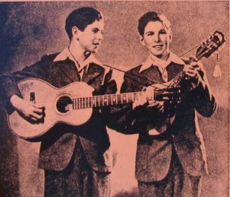 The Armstrong Twins - Floyd and Lloyd Armstrong in 1947, at the beginning of their country music career.