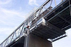Little Belt Bridge - A mobile maintenance scaffold attached to the bridge