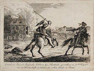 Friedrich Wilhelm Leopold Konstantin Quirin Freiherr von Forcade de Biaix - The Red House in Strehlen near Dresden, 26 August 1813, during the Battle of Dresden