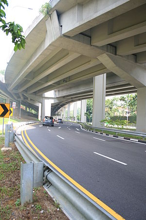 Thomson Road, Singapore - Thomson Road beneath Lornie Viaduct, near the Braddell Road junction.