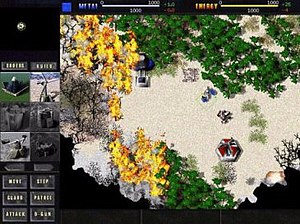 Total Annihilation - Screenshot of an Arm campaign mission. The interface is visible along the top and left sides, displaying resource, minimap, construction and movement information.