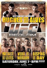 A poster or logo for UFC 85: Bedlam.